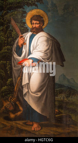 AVILA, SPAIN, APRIL - 18, 2016: The  Saint Bartholomew the apostle painting in Catedral de Cristo Salvador by unknown - Stock Photo