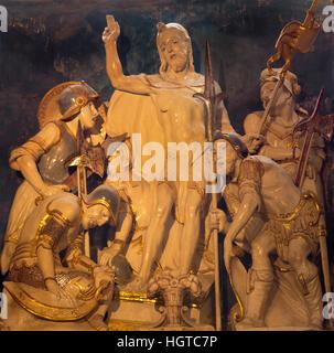 AVILA, SPAIN, APRIL - 18, 2016: The carved sculpture of Resurrection of Christ in sacristy of Catedral de Cristo - Stock Photo