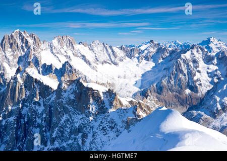 Mont Blanc massif from Aiguille du Midi, Chamonix, France - Stock Photo