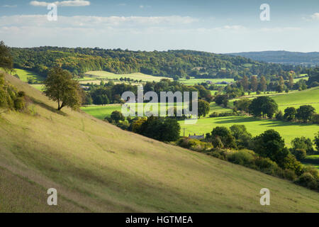 Hambleden valley and early autumn colours seen from the grassy slopes above Turville in Buckinghamshire, Chiltern - Stock Photo
