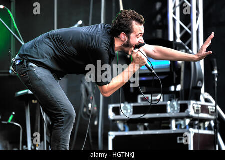 MOSCOW, RUSSIA - JULY 31, 2010: British singer Tom  Smith from Editors during performance at Moscow rock festival - Stock Photo