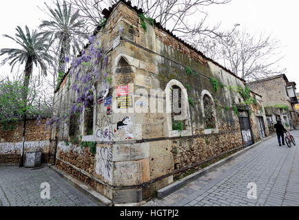 Antalya, Turkey-March 29, 2014: Kaleiçi-Inner castle area is the historic city center and has structures dating - Stock Photo