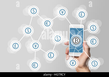 Blockchain and bitcoin technology as example for crypto-currency - Stock Photo