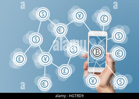 Blockchain and bitcoin technology and mobile computing concept on blue background - Stock Photo