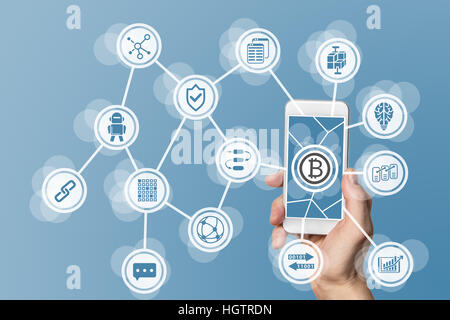Blockchain and bitcoin concept visualized by mobile phone and blue background - Stock Photo