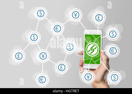 Mobile payment and crypto currency like bitcoin using block chain technology - Stock Photo
