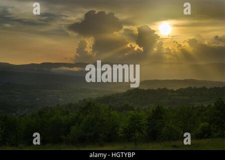 Sun Rays in the Carpathians - Stock Photo