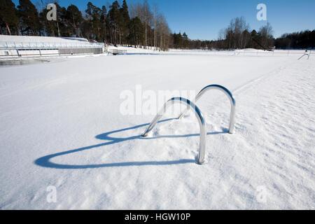 Swimming Pool Hand-Rails At Winter, Finland - Stock Photo
