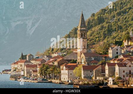 The Small Village Of Dobrota Montenegro - Stock Photo