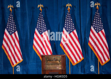 Podium And Us Flags At The Trump International Hotel In Las Vegas, Where Donald Trump Would Endorse Presidential - Stock Photo