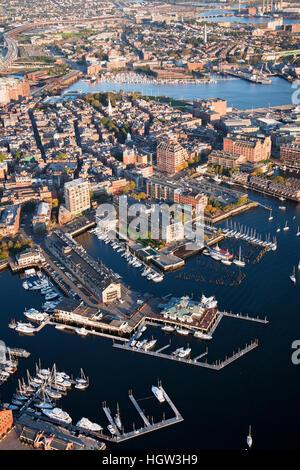 Aerial Of Boston Harbor Area Focusing On Leonard P. Zakim Bunker Hill Memorial Bridge, Boston, Ma - Stock Photo