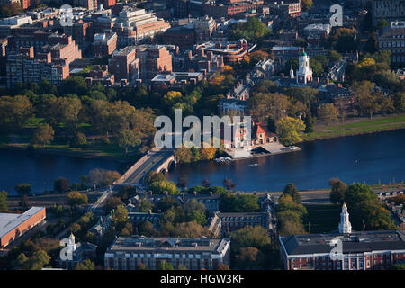 Aerial View Of Cambridge And Anderson Memorial Bridge Leading To Weld Boathouse, Harvard On Charles River, Cambridge, - Stock Photo