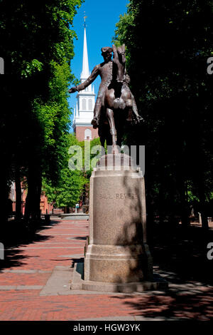 Bronze Statue Of Paul Revere On Horse, Freedom Trail In Front Of The Old North Church, North End, James Rego Square, - Stock Photo