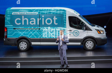 Detroit, Michigan - Ford CEO Mark Fields talks about his company's recently-acquired Chariot commuter shuttle service. - Stock Photo
