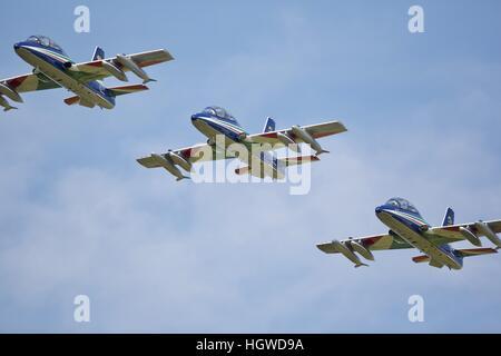 The Italian aerobatic team the Frecce Tricolori - Stock Photo