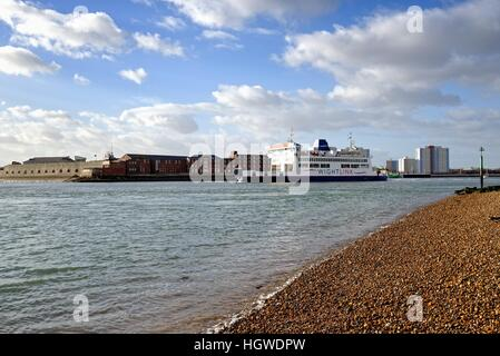 Isle of Wight car ferry leaving Portsmouth Harbour UK - Stock Photo
