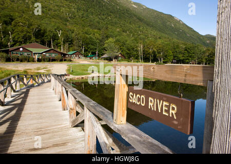 The dam at Willey Pond in New Hampshire's Crawford Notch State Park.  White Mountains. - Stock Photo