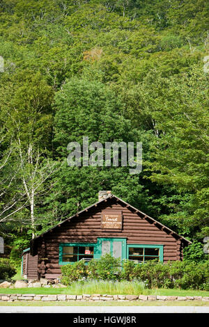 The Willey House site in Crawford Notch State Park in New Hampshire's White Mountains. - Stock Photo