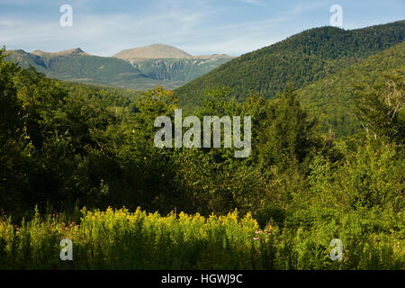 Mount Washington as seen from Crawford Notch State Park in new Hampshire's White Mountains. - Stock Photo