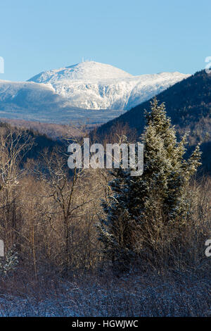 Mount Washington as seen from New Hampshire's Crawford Notch State Park. Winter. - Stock Photo