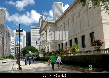 Art Institute of Chicago. Michigan Avenue, Chicago, Illinois - Stock Photo