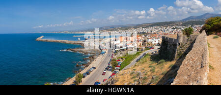 Panoramic view of Rethymno city from the Fortezza citadel, Crete, Greece - Stock Photo