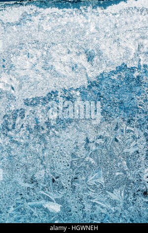 Blue Frosty Glass Ice Background, Natural Beautiful Frost Ice Pattern. Winter Xmas Christmas Abstract Backdrop, - Stock Photo