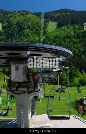 Ski lift in summer in Lackenhof / Oetscher, Austria, Lower Austria - Stock Photo