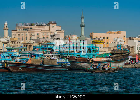 View over Deira district from across the creek, Dubai, United Arab Emirates - Stock Photo