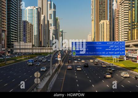 Sheikh Zayed Road, Dubai, United Arab Emirates - Stock Photo