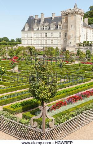 The formal potager kitchen gardens parterre, Chateau de Villandry ...