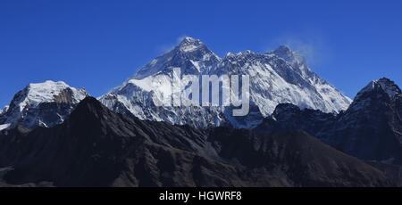 View from Renjo La mountain pass. Mount Everest and Lhotse. - Stock Photo