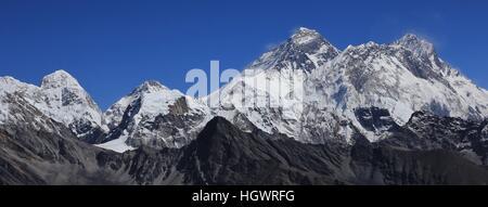 Mount Everest and Lhotse. View from Renjo La mountain pass, Nepal. - Stock Photo
