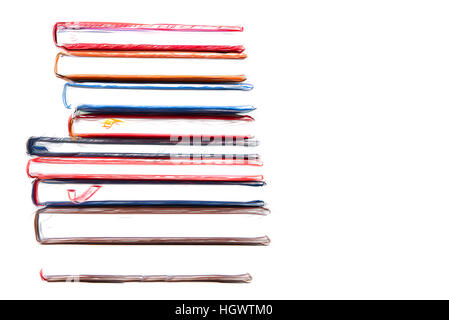 Stack of diaries 20/5000 with brushstroke on white background - Stock Photo