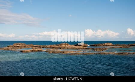 A view of the coast and beach of Famagusta, Northern Cyprus. - Stock Photo