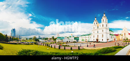 Panoramic View Of Cathedral Of Holy Spirit In Minsk - Main Orthodox Church Of Belarus. Famous Place And Landmark - Stock Photo