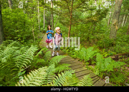 Two kids hiking at the Willow Brook and Fleetwood Farms Preserve in Pembroke, Massachusetts. - Stock Photo