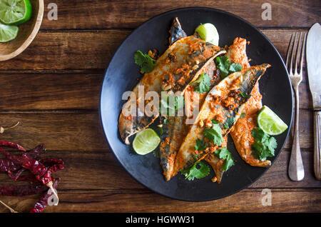 Indian mackerel fish fry with coriander - Stock Photo