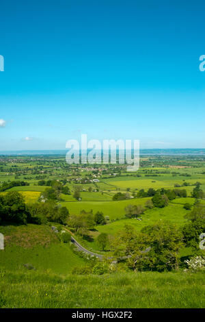 View over The Severn Vale from The Cotswold Way long distance footpath at Coaley Peak viewpoint, Cotswolds, Gloucestershire, - Stock Photo