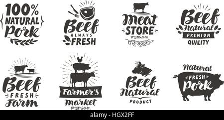 Vector set of meat labels, badges and icons. Collection elements for menu design restaurant or cafe isolated on white background