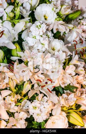 Alstroemeria, Lilium candidum and Eustoma Grandiflorum in white color - Stock Photo