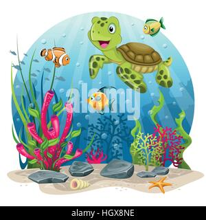 Turtle and fish in the sea - Stock Photo