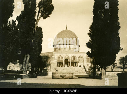 The Dome of the Rock  looking through the trees Jerusalem, Palestine, Israel, 1946, West Bank, Historical Images, - Stock Photo