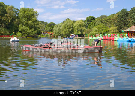 Large model boat warship from the naval warfare Peasholm Park Scarborough North Yorkshire UK