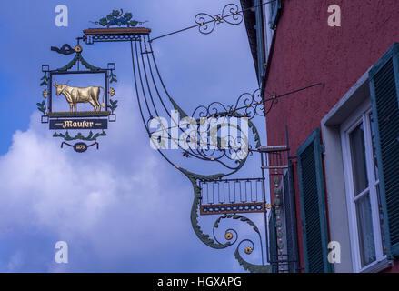 Inn sign in Murrhardt, Murrhardt, Murr Valley, Rems-Murr Region, Baden-Wuerttemberg, Germany - Stock Photo