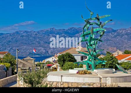 Town of Razanac with Velebit background, Dalmatia, Croatia - Stock Photo