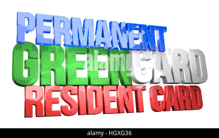 USA permanent resident card 3D render - Stock Photo