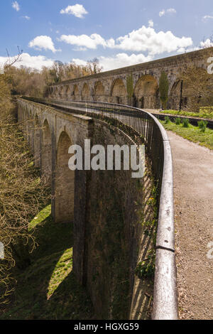 Chirk Aqueduct carrying the Shropshire Union canal built in 1805 by Thomas Telford and railway viaduct on the border - Stock Photo