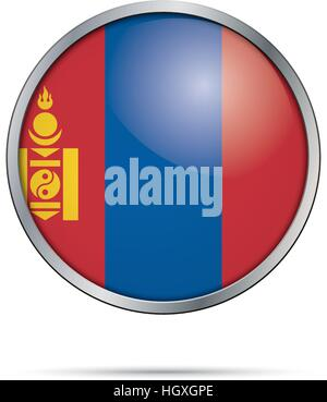Vector Mongolian flag Button. Mongolia flag in glass button style with metal frame. - Stock Photo