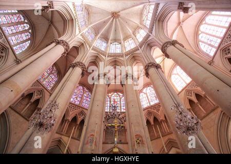 St-Julien Cathedral Choir Vaults, Le Mans, Sarthe, France - Stock Photo
